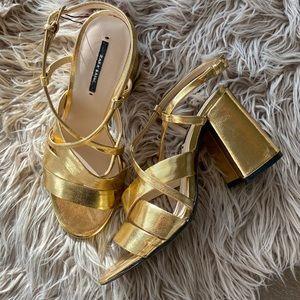 Gold Chunky Heel Strappy Sandal Zara 38